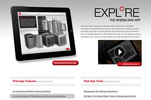 Rheem iPad App Site